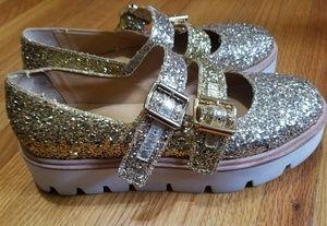 MM6 MAISON MARGIELA glitter platform shoes sz 7.5